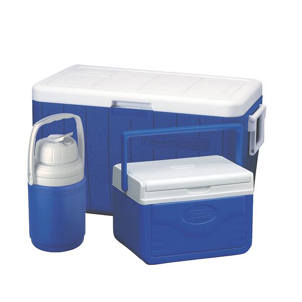 ست سه تایی کول باکس 45 لیتر +آبخوری 2.8 لیتر+یخدان4.7 لیتر 3Piece 48 Quart Cooler Combo Coleman